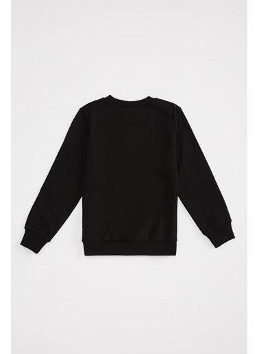 DeFacto Kız Çocuk Yarasa Baskılı Sweatshirt Siyah